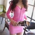 2016 Весна Осень Женщины Dress Длинным Рукавом Повседневный Sexy Глубокий V-образным Вырезом Молнии Sexy Party Dress