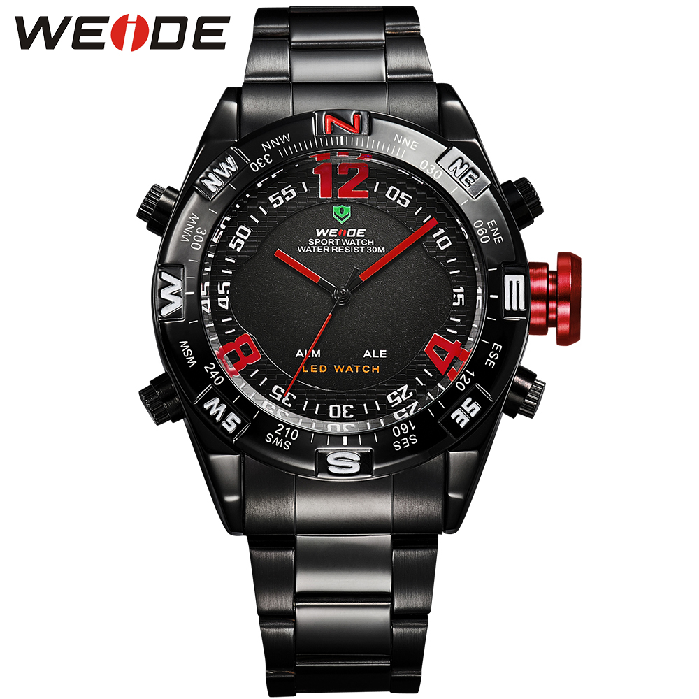 WEDIE Popular Brand LED Digital Watch Men Black Stainless Steel Strap Red Needle Round Case Analog Quartz Wrist Watches stylish 8 led blue light digit stainless steel bracelet wrist watch black 1 cr2016