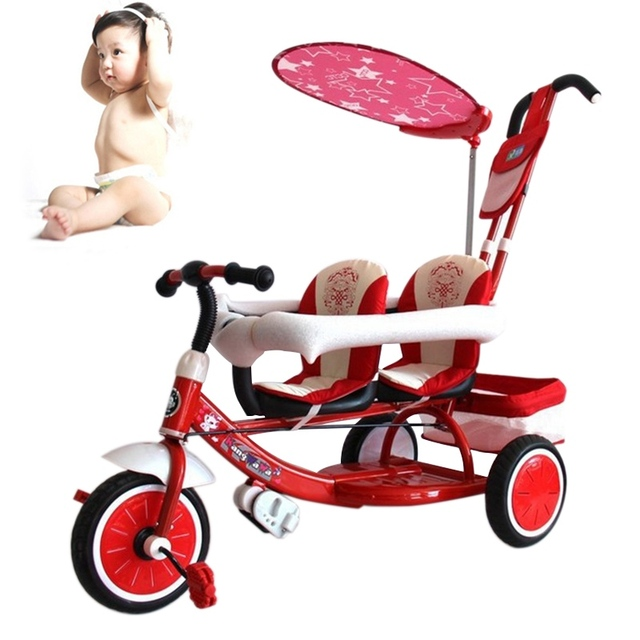 Folding Tricycle for Twins Baby Stroller Pram Twins Double Seats Three Wheels Bicycle Stroller Twin Tricycle Infant Pushchair