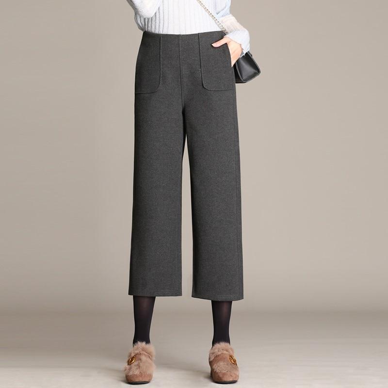 Winter European Style Plus Size 4XL Women Wool Wide   Pants   Casual PocketsTrousers Pockets High Waist Warm Female   Capris