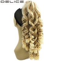 DELICE 24 180g Clip In Long Blonde Curly Claw Ponytail High Temperature Fiber Synthetic Hair Extensions