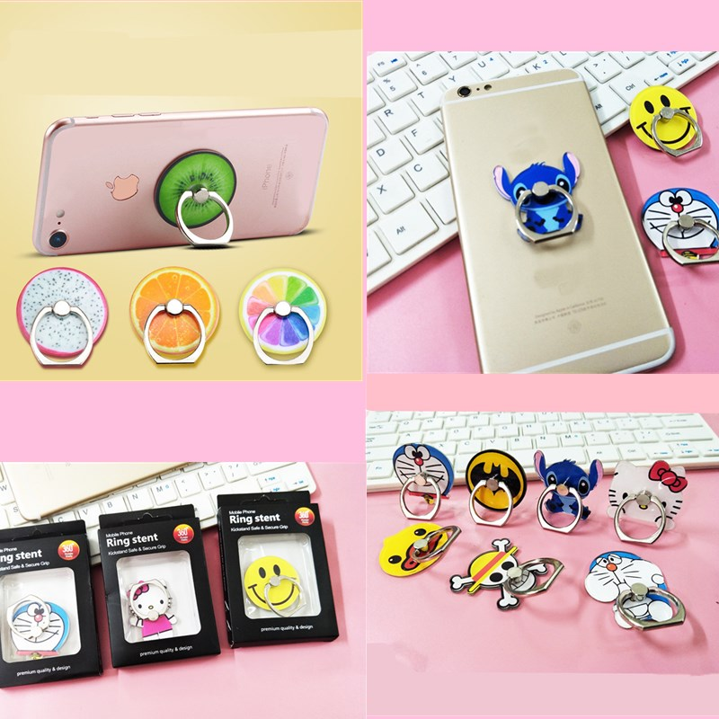Luxury Full Degree Finger Ringer Holder Hello Kitty Cute Anime Cartoon Smart Phone Stand For iphone Huawei Xiaomi