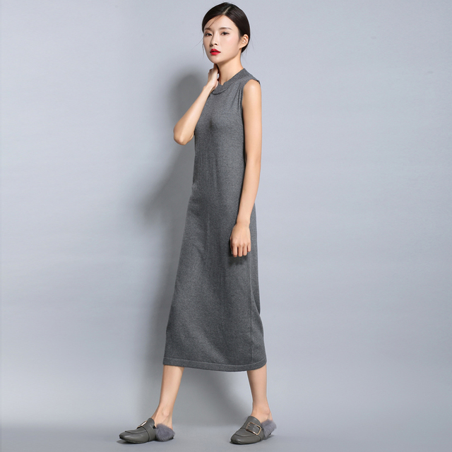 adohon 2018 womens spring Cashmere Dresses and summer women knitted Long Oneck High Quality Female solid sweaters Sleeveless