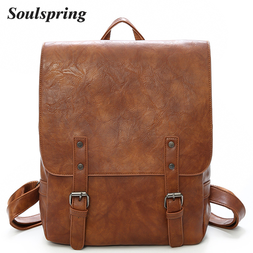 Fashion Women Leather Backpack Brand Female Backpacks High Quality Schoolbag Double Belts Backpacks For Teenage Girls Brown Sac new original cp1e e14sdr a plc cpu ac100 240v input 8 point relay output 6 point