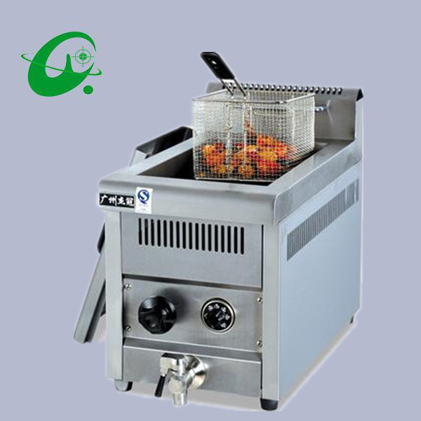 Stainless Steel Counter Top Gas Fryer 14L French fries Duck Counter top Deep Fryer Gas cylinder blast furnace