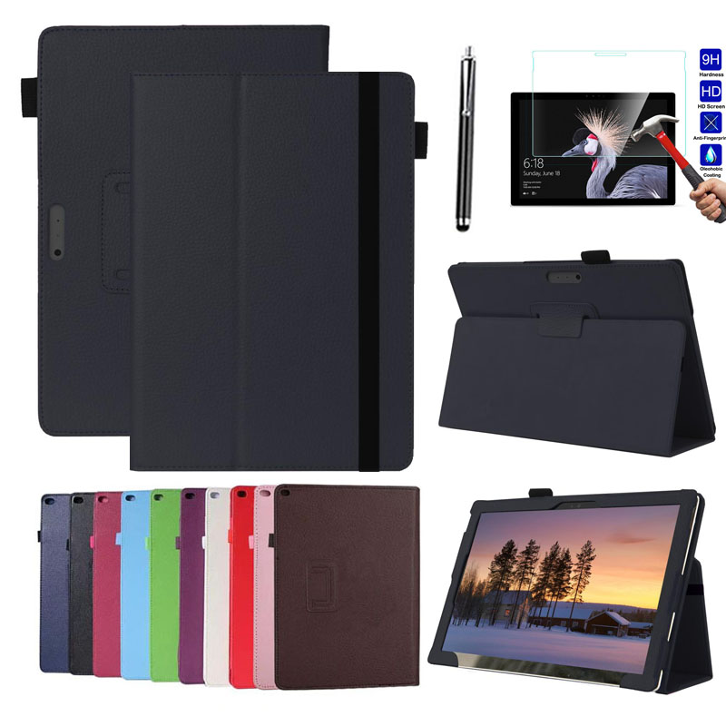 Ultra Slim Case For Microsoft Surface Pro 6 12.3 Stand Fold Protective Litchi Leather Tablet Case Cover + Tempered Glass+Pen