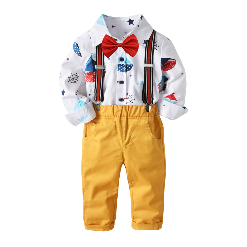 Boys Fashion Turn Down Collar Long Sleeve Printing Long Romper Pants 2Piece Set Children Bow Cute Set Polo Pullover Shirts Cybex brief polo collar solid color long sleeve long blouse for women