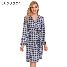 Ekouaer ผู้หญิง Kimono Robes Sleepwear 100% ผ้าฝ้ายลายสก๊อตแขนยาวสปา Robes Dressing Gown ชุดนอน