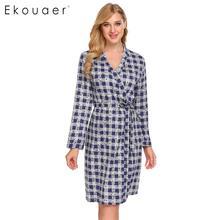 Ekouaer Women Kimono Robes Sleepwear 100% Cotton Bathrobe Plaid Print Long Sleeve Soft Spa Robes Dressing Gown Nightwear