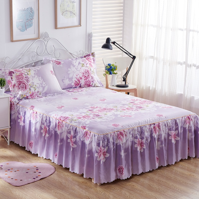 Bedding Sets King Queen Bed skirt Sheet set Flowers linens Bed Mattress Cover Bedspread Bedding,1 Bed Skirt 2 Pillowcase15