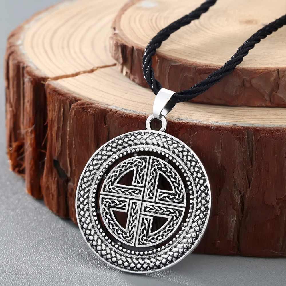 CHENGXUN w stylu Vintage Norse mężczyźni wisiorek naszyjnik mężczyzna łańcuch duża koło krzyż celtycki Viking biżuteria