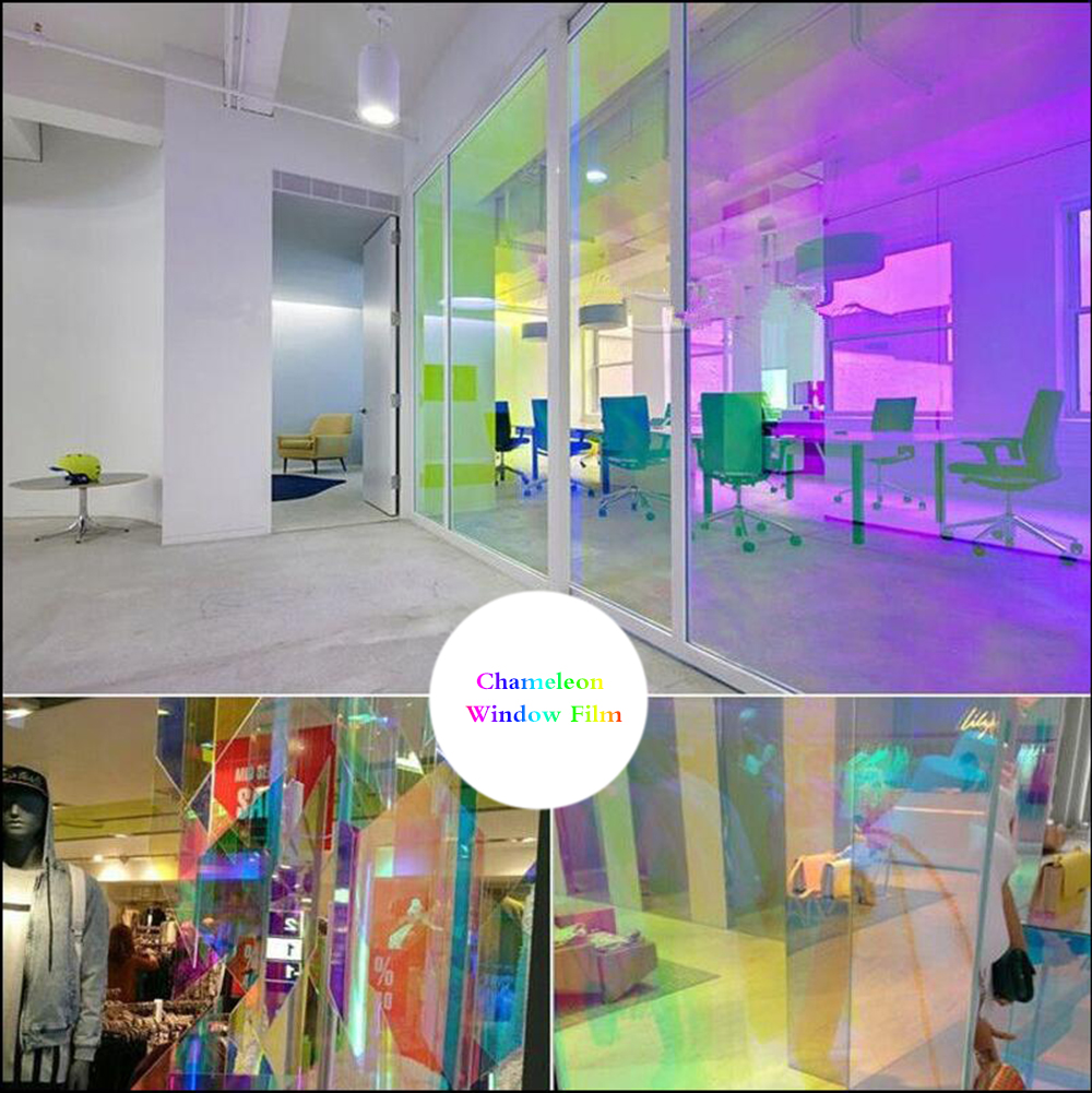 50x200cm Rainbow Color One Way Decorative Window Film Home Office Club Privacy Glass Stickers Reflective mirror Solar Tint Film in Decorative Films from Home Garden