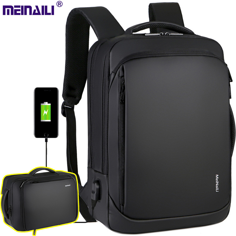 2019 Mens USB Charging Backpack 14 15.6 Inch Laptop Bags Male Business Bagpacks Waterproof Multifunctional Travel Backpack