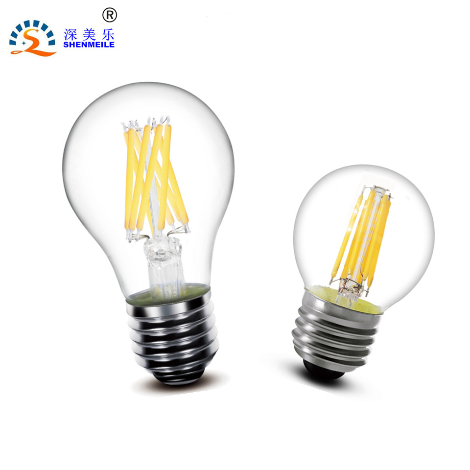 1pcs E27 E14 220V 230V 240V A60 G45 C35 2W 4W 8W Warm white LED Filament Candle Bulb Lamp Light hdx lzd 603b e14 4w 12lm 3500k warm white light 32 led candle light bulb golden