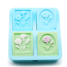 DIY handmade soap silica gel mold rectangular Carnation silicone