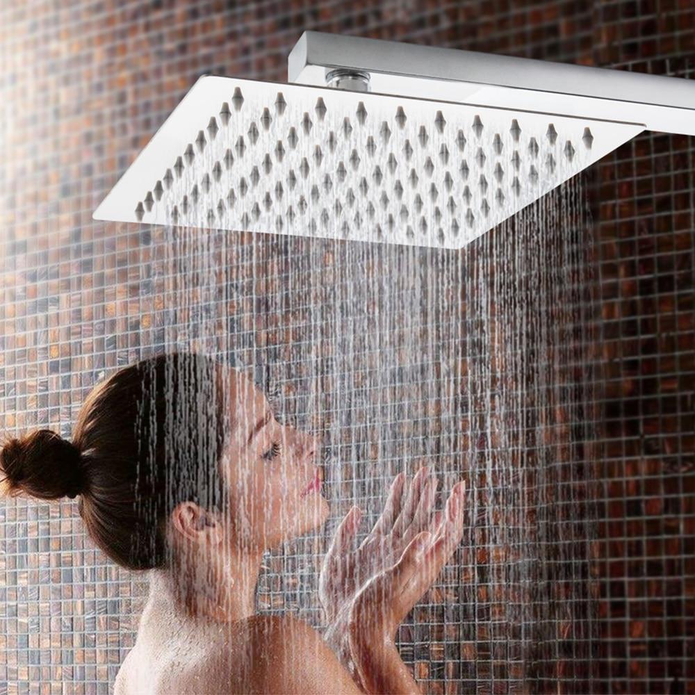 4/6/8/10/12 zoll Edelstahl Dusche Kopf Quadratische oder Runde Top Niederschläge Kopf dusche Verchromte Spiegel Konfrontiert Dusche Für Badezimmer