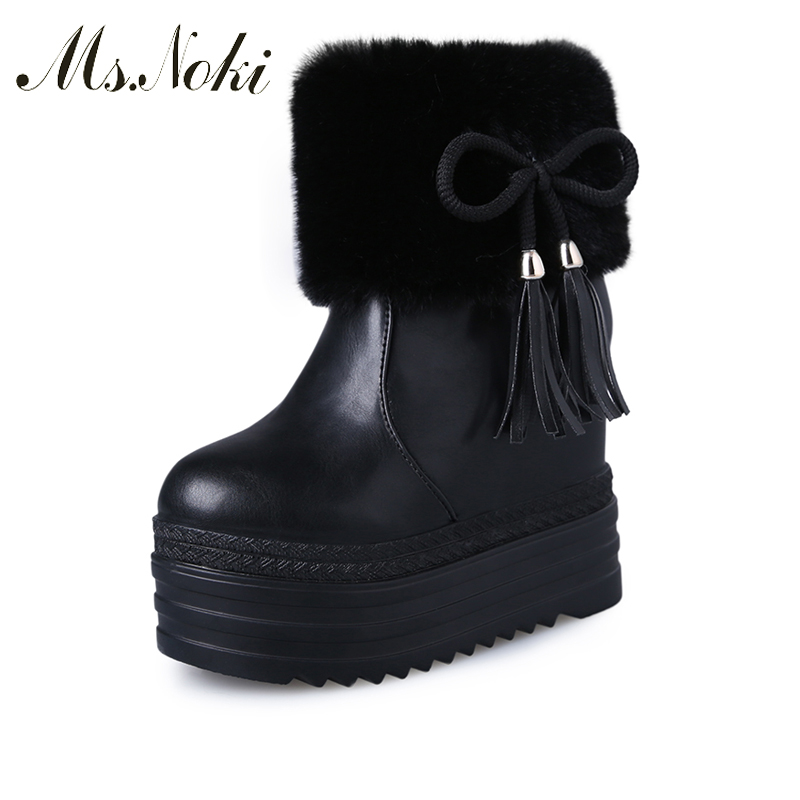 Ms Noki Bowie Fashion Fur women boots pointed toe flock ladies square heel boots fringe autumn winter ankle Platform Shoes ms noki fashion buckle solid women ankle boots square heel pointed toe ladies booties retro comfortable slip on female botas hot