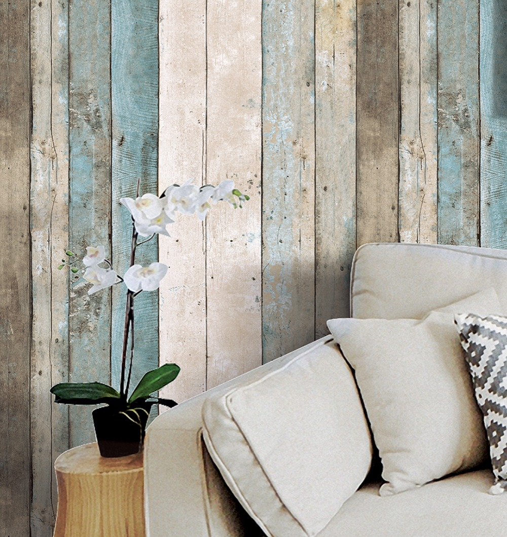 HaokHome Vintage Wood Plank PVC Vinyl Wallpaper for walls 3d Rolls Blue/Beige/Brown Mural Living Room Kitchen Home Decoration купальник женский animal ilsa bikini beige brown blue