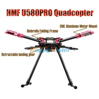 HMF U580 Pro Totem Series Carbon Umbrella Folding FPV Quadcopter Frame w/ Electric Retractable Landing Gear Gimbal Mount Tube