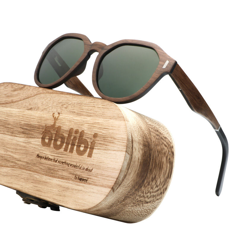 Ablibi New 2018 Sunglasses Walnut Wood Shades for Men Womens Polarized Wooden Bamboo Sunglasses lentes de sol de mujer