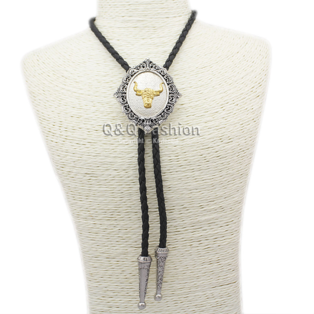 New Top Fashion Southwest Indian Texas Silver & Gold Bull Buffalo Horn Rodeo Leather Bolo Tie Necklace Men Women Unisex Necklace