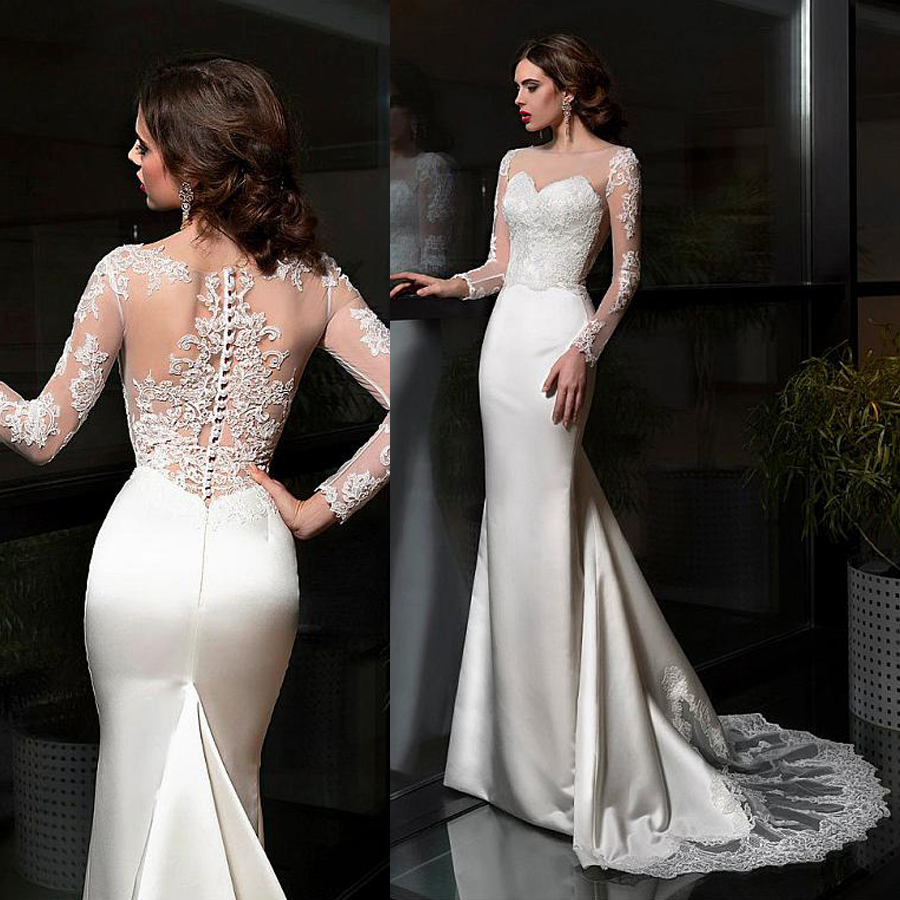 Elegant Satin Bateau Neckline Sheath Wedding Dresses With Lace Appliques Train Long Sleeves Bridal Dress