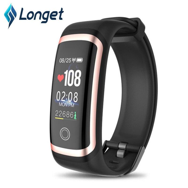 Pulsera inteligente LONGET con Monitor de ritmo cardíaco, reloj de Fitness con pantalla de color rastreador de Fitness con Monitor de sueño para hombres y mujeres niños