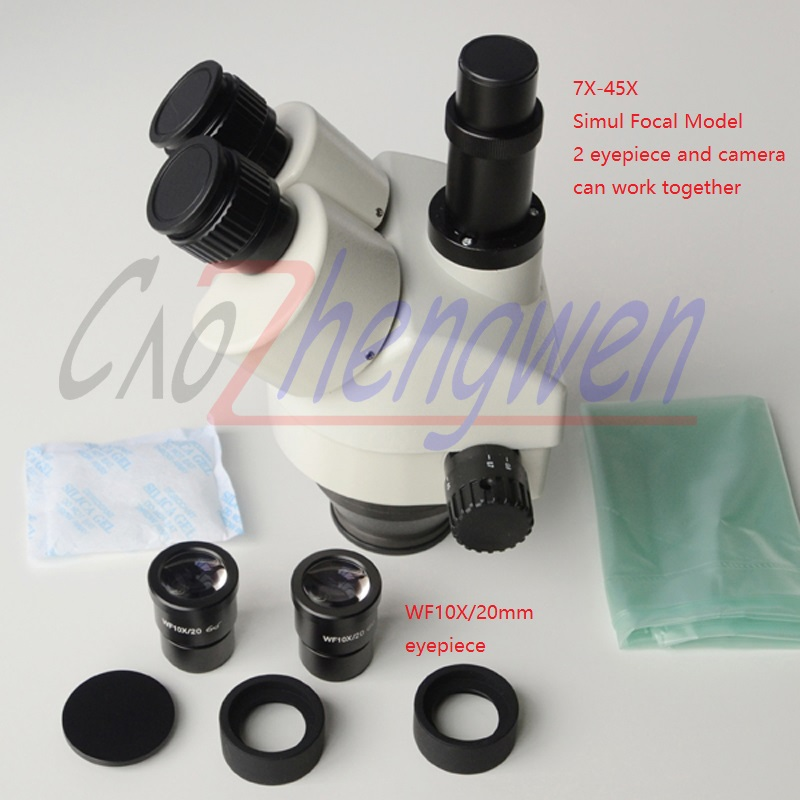 FYSCOPE 7X-45X Simul-Focal Trinoculaire Microscope Stéréo de Bourdonnement de la Tête peut voir 3 oculaire en même temps