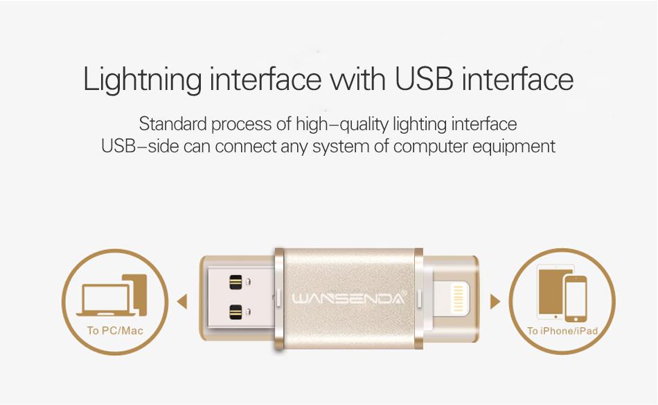 US $14 35 |Fashion Wansenda i400 lightning Pen drive iOS usb flash drive  for iPhone/iPad 16gb 32gb metal usb memory stick usb 2 0 Pendrive -in USB