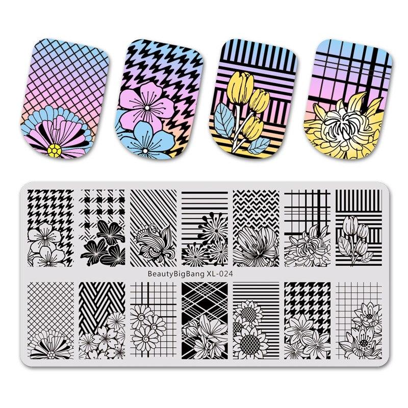 artikel typ nail art stanzen platte gre ca 612 cm gewicht 35g muster blume thema xl 024 marke beautybigbang - Muster Fur Nagel