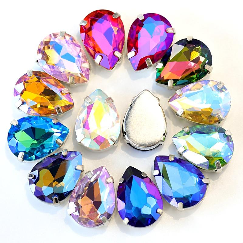5 tamanhos mix cores vidro cristal prata garra costurar em strass com garra waterdrop vermelho costurar na garra strass para vestuário b0403