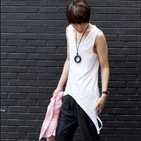 2016 Summer Style Irregular Cropped Mens Tank Tops Shirt Sleeveless Hip Hop Tank Tops Night Club