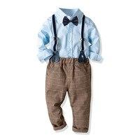Boy's Clothing Set 1 8 Y Spring Autumn Solid Shirt & Elastic Long Bib Pant & Bow Tie Kids Cotton Fashion Gentleman Shirt Suits