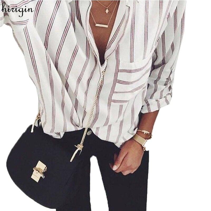 New Autumn Long Sleeve Striped Blouse Women Large Size Loose Casual Shirt Women with Poket Vintage Chemise Femme