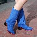Mujeres verdadera del cuero genuino del alto talón sobre la rodilla botas de invierno botas de la señora militares marca calzado zapatos K4416 tamaño 34-43