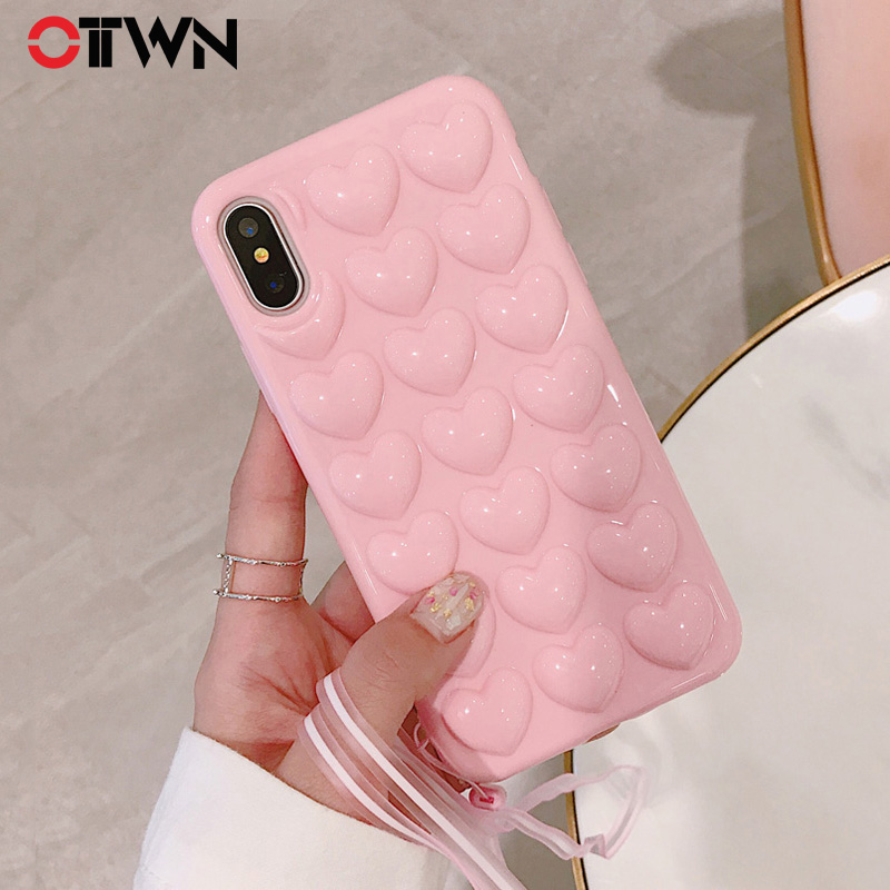 14ffb01b458b7 Detail Feedback Questions about Ottwn 3D Love Heart Phone Case For iPhone X  Cartoon Cases Soft TPU Protection Back Cover With Lanyard For iPhone 7 8 6  6S ...