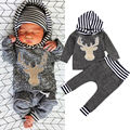 Infant Newborn Baby Girls Boys Clothes Long Sleeve Hoodie Deer Tops+ Pants 2pcs Outfit Toddler Kids Clothing Set