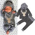 Infantil Bebê Recém-nascido Meninas Meninos Roupas Com Capuz Manga Comprida Cervos Tops + Pants 2 pcs Roupa Criança Crianças Conjunto de Roupas