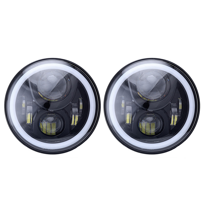 2PCS 7 Inch Round Daymaker RGB LED Car Headlight Bluetooth Control Angel Eyes Hi-Lo Beam Headlamp For Jeep Wrangler 2007-2016 2pcs led headlight beam h4 9600lm fog lamp bulb conversion kit low beam light car led headlamp hi lo beam h7 led headlight kit