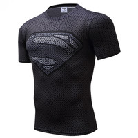 Superman Tshirts Men Compression Shirts Batman Tops The Flash T shirts 355#