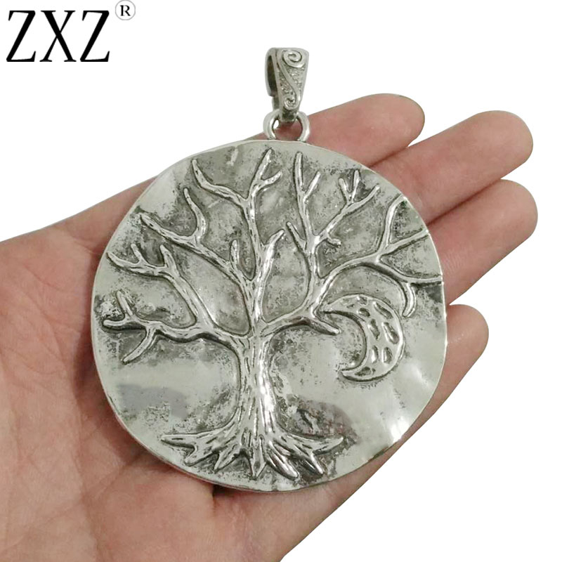 ZXZ 2pcs Antique Silver Large Tree Charms Pendants Moon With Attached Loop for Necklace Jewelry Making Findings 71x64mm