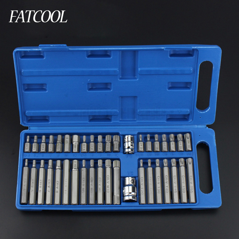 40pcs / set Hex Star Spline Socket Screwdriver Bit Set 1/2 3/8 Drive Sockets Power Tool Bits Set Car Van Repair Tools Kits mainpoint 1 4 1 2 3 8 e socket sockets set cr v torx star bit combination drive socket nuts set for auto car repair hand tool