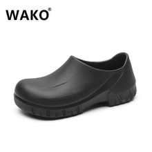 WAKO 9033 Man Chef Shoes Kitchen Cook Shoes Black Clogs Working Hospital Shoes Super Anti-skidding Oilproof Waterproof Sandals