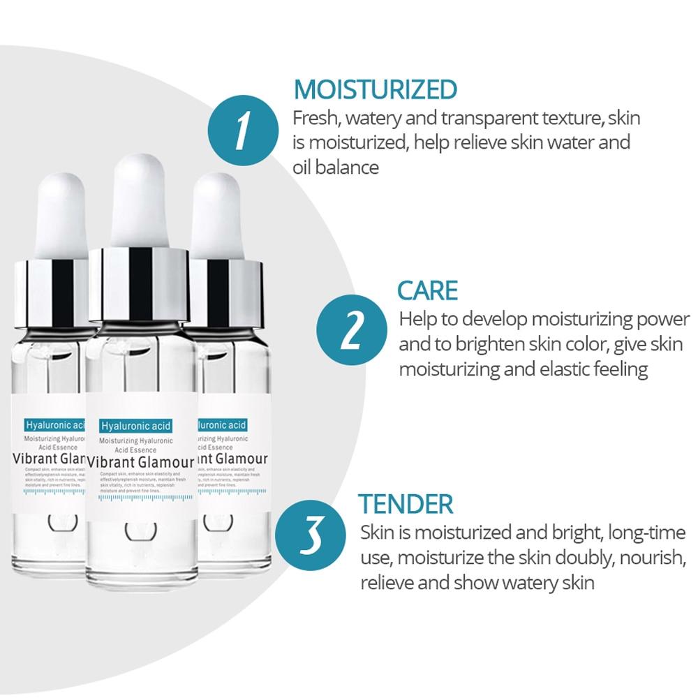 VIBRANT GLAMOUR Hyaluronic Acid Shrink Pore Face Serum Moisturizing Whitening Essence Face Cream Anti-Aging Dry Skin Care New 2