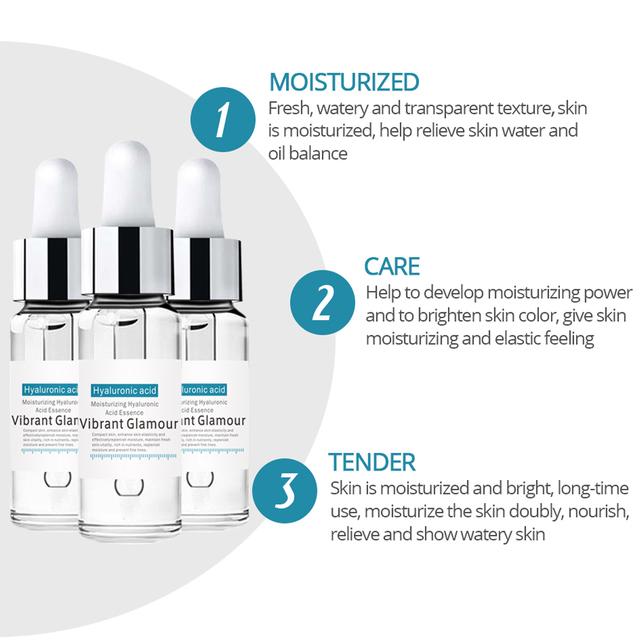 VIBRANT GLAMOUR Hyaluronic Acid Shrink Pore Face Serum Moisturizing Whitening Essence Face Cream Anti-Aging Dry Skin Care New