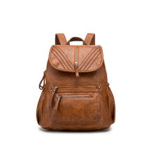 Brown Black Women Backpack 100% Genuine Leather Practical Travel Bag Big Schoolbag For Girls Fashion Female Knapsack Laptop C590(China)