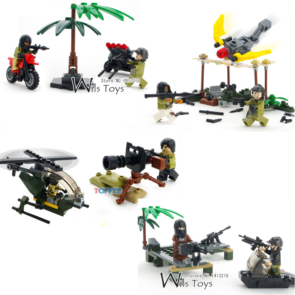 4 in 1 Navy Seals Team MILITARY Army WW2 SWAT Soldier Special Forces Marines Building Blocks Brick Figures Toy Gift Boy Children military city police swat team army soldiers with weapons ww2 building blocks toys for children gift