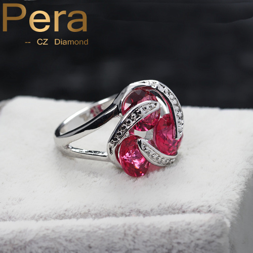 Women Fashion Non-Traditional Styles Jewelry Rose Red Stone Cubic Zirconia Stone Flower Infinity Knot Evening Party Rings R007