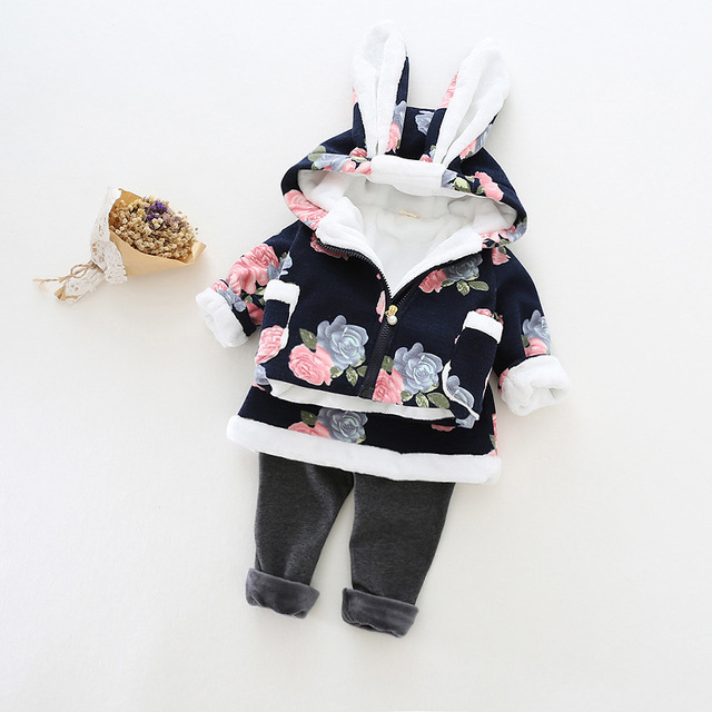 High Quality Cotton Coat Lovely Bunny Clothing Sets Fleeced Girls Hoodies + Pants 2pcs/Set Thick Pants 2016 Brand Winter Outwear