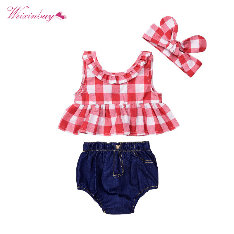 Toddler Girls Summer Clothing Set kids Casual Sport Suits Red Plaid Skirted T-shirt Tops+Denim Shorts Bloomers Headband Outfits 1 7y toddler kids clothes 2017 fashion children girls leopard hooded vest t shirt tops hole jean denim shorts 2pcs clothing set